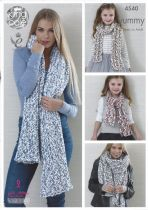 King Cole Yummy - 4540 Ladies Shawls & Girls Scarves Knitting Pattern